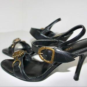 Colin Stuart Shoes - Colin Stewart Brass Embellished Black Heel Sandal